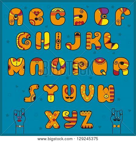 Unusual font. Alphabet with Indian style. Funny orange letters. Vector Illustration