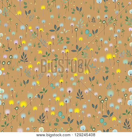 Blossoming Field. Watercolor flowers and plants. Vector Seamless Pattern