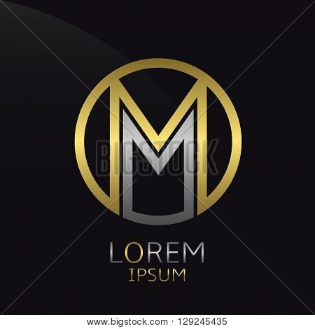 Letter M logo. Golden round logotype template
