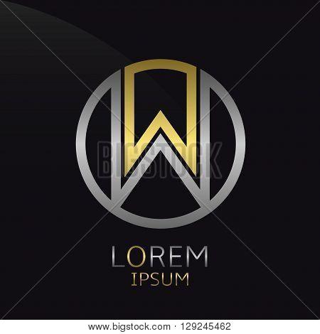 Letter W logo. Golden round logotype template