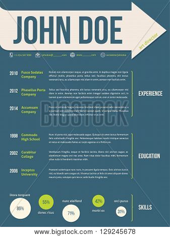 Modern resume cv curriculum vitae template design with name on arrow ribbon