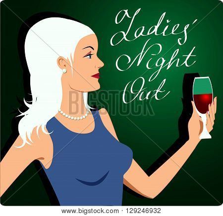 Ladies' Night Out invitation illustration, Profile of a beautiful blond, holding a glass or red wine