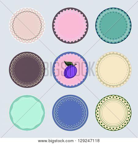 Nine labels for preserves, EPS8 vector illustration