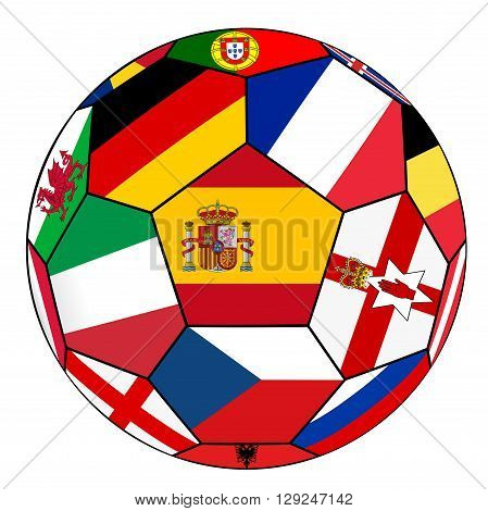 Ball With Flag Of Spain In The Center - Vector
