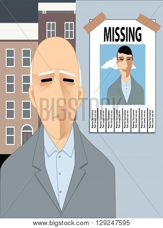 Old man missing his youth, EPS8 vector illustration
