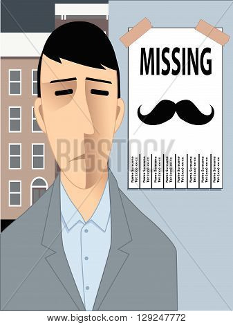 Young man missing moustache. Movember EPS8 vector illustration.