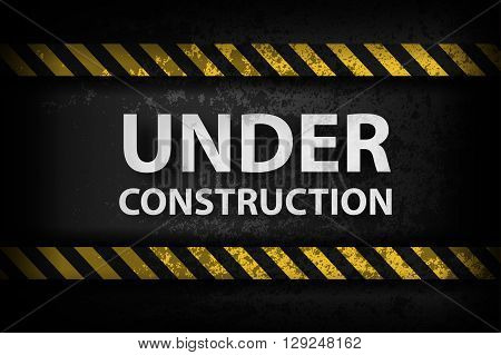 Under Construction with yellow stripes illustration in color