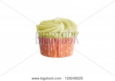 Colorful cupcake with thick frosting or icing isolated ona white background
