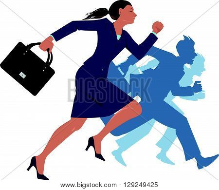 Businesswoman running, competing with men, EPS8 vector illustration