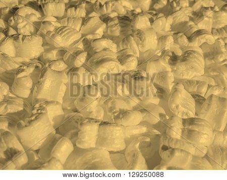 White Polystyrene Beads Background Sepia