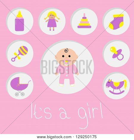 Its a girl. Baby girl shower card. Bottle horse rattle pacifier sock doll baby carriage pyramid toy. Pink background Flat design. Vector illustration