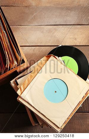 Vinyl records on table