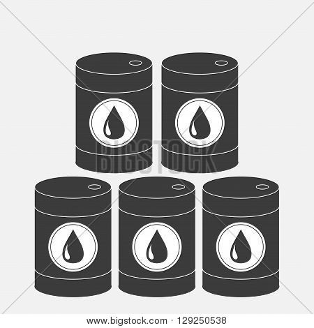 Oil barrel set with oil drop sign icon. Isolated. Black sign on white background. Oil droplet. Flat design. Vector illustration
