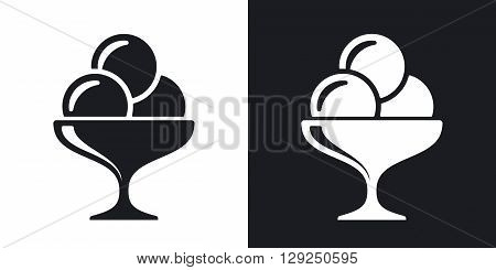 Icon ice cream stock vector. Two-tone version on black and white background