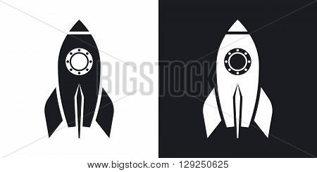 Rocket icon stock vector. Two-tone version on black and white background