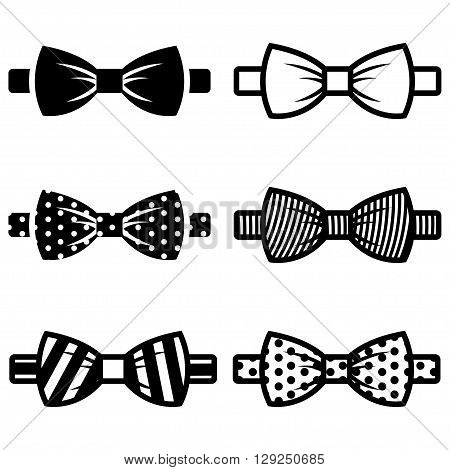 Vector black bow ties icons set on white background.