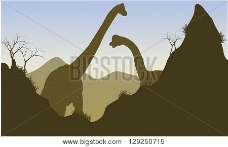 Silhouette of brachiosaurus behind the cliff with brown backgrounds