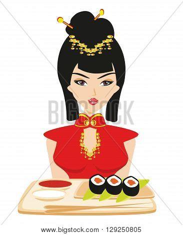 sushi and geisha on white background , vector illustration