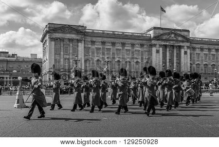LONDON UK - 24TH MARCH 2014: The Queens Guards musicians coming out of Buckingham Palace during the Changing of the Guard