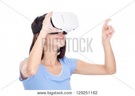Woman looking though virtual reality device and finger point up
