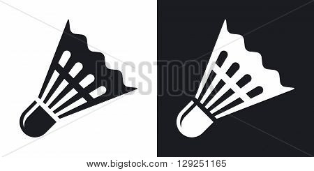 Badminton shuttlecock icon vector. Two-tone version on black and white background