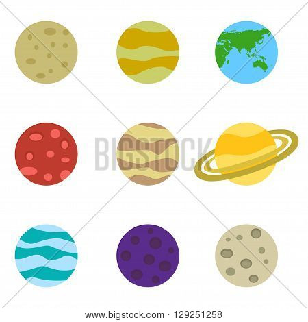 Planets colorful vector set icons on white background