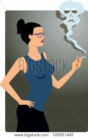 Smoking kills. Woman in glasses looking at a smoke cloud from her cigarette forming a skull