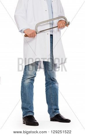 Crazy Doctor Is Holding A Big Saw In His Hands