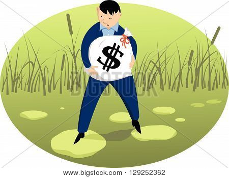 Investor on a shaky ground EPS8 vector illustration
