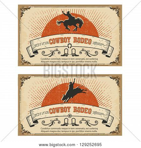 Cowboy Wild Horse Rodeo.vector Cards Isolated On White
