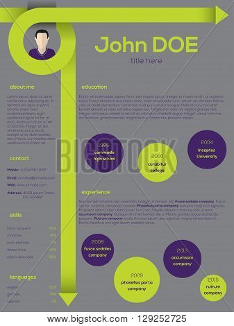 Modern resume cv curriculum vitae template design with curly arrows