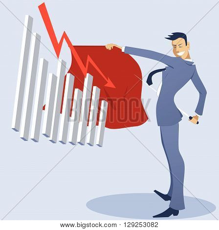 Torero businessman with a graph holding out cape