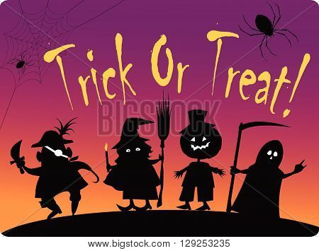 Trick or treat group of children EPS8 vector illustration