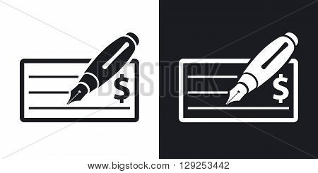 Vector bank check icon with fountain pen. Two-tone version on black and white background