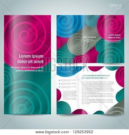 3d dimensional figure spiral brochure design template folder leaflet colored element white background