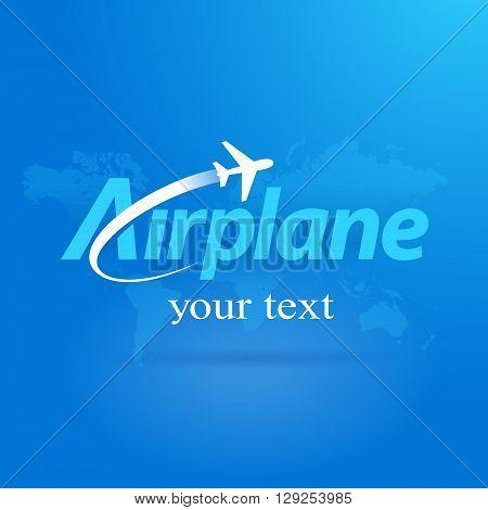 airplane flight symbol emblem blue background takeoff