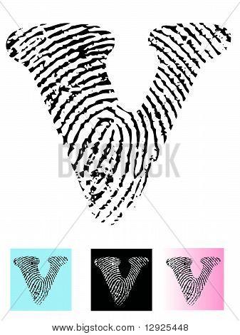 Fingerprint Alphabet Letter V