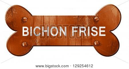Bichon frise, 3D rendering, rough brown dog bone