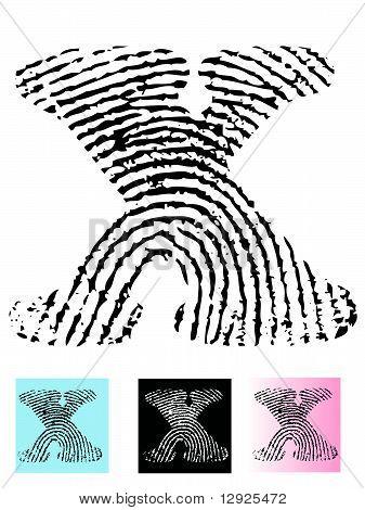 Fingerprint Alphabet Letter X