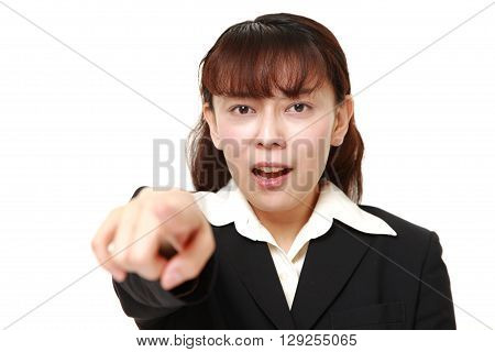 portrait of Asian woman witnessed something on white background
