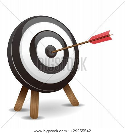 Dart hitting a target on a white background