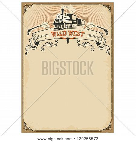 American Western Background With Old Locomotive And Scroll