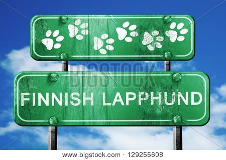 Finnish lapphund, 3D rendering, rough green sign with smooth lin