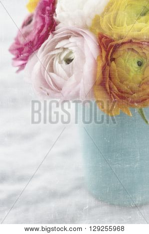 Bouquet of colorful ranunculus flowers with vintage textured background
