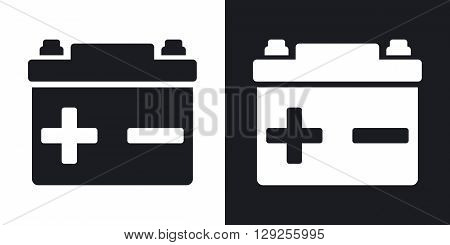Vector car battery icon. Two-tone version on black and white background