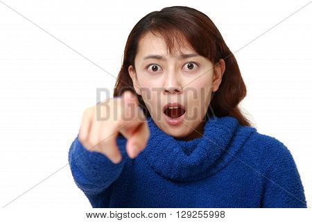 Asian woman witnessed something on white background