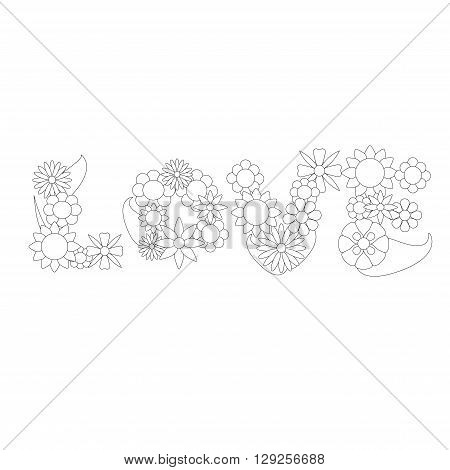 Love flower word vector ornament for coloring, love word flower ornament vector illustration