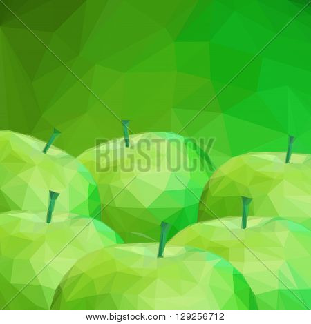 Background with Group of Apple Fruits, Low Poly Pattern. Vector