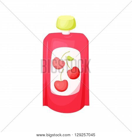 Cherry juice package. Fruit cherry purees. Healthy fruit purees snack in packaging. Fruit juise in packing. Cherry juice in pack. Baby food. Drink fruit purees. Cherry jam.
