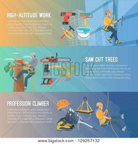 Horizontal flat color banners about high-altitude work saw cut trees profession climber vector illustration